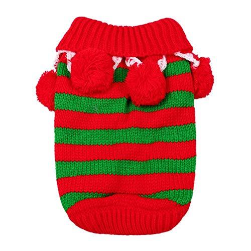 Fanatical-Night Dog Clothes Autumn Winter Christmas Striped Warm Dog Pets Clothes Coat Cartoon Jacket -