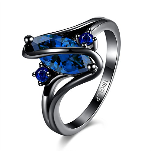 FENDINA Jewelry Black Gold Engagement Ring Blue Sapphire Marquis Rings Women's Zircon 18K Promise Bands