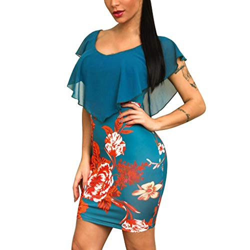 Chaofanjiancai_Dress Dresses for Women Plus Size Casual Rose Print Chiffon O-Neck Ruffles Mini Dress Ladies Party Bodycon Short Dress