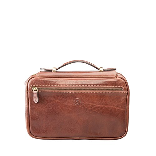 Maxwell Scott Personalized Luxury Tan Leather Cosmetics Bag (The Cascina) - One Size by Maxwell Scott Bags