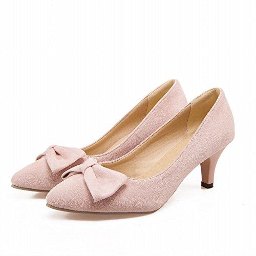 Carol Chaussures Manchette Élégance Féminine Bowknots Mode Stiletto Mi-talon Robe Pompes Chaussures Rose