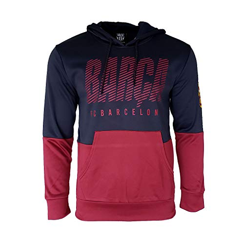 - FC Barcelona Hooded FCB Sweatshirt Hoodie Pull Over Jacket Navy Maroon Adults Official Licensed New Season -XL
