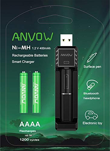 Anvow Smart Aaaa Battery Charger With 2 Counts Rechargeable Aaaa Batteries Ni Mh 1 2v 400mah 1200 Cycles Surface Pen Active Stylus Rechargables Battery On Galleon Philippines