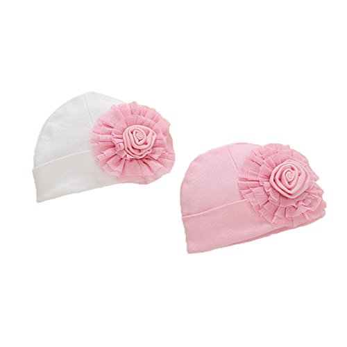 Ever Fairy 3 Pcs Newborn Hospital Hat Infant Baby Hat Cap with Big Bow Soft Cute Knot Nursery Beanie (2 Colors Pack)