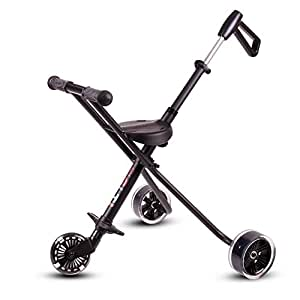Simple Folding Portable Children's Tricycle Strollers Aluminum Lightweight Baby Carrier Outdoor Travel Prams , black , 52 cm