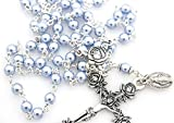 CB Catholic Silver Swarovski Pearls Light Blue