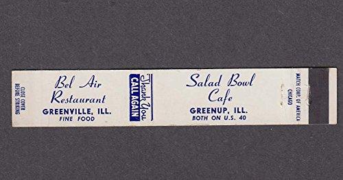 Bel Air Restaurant Greenville & Salad Bowl Café Greenup matchcover (Bel Bowl)