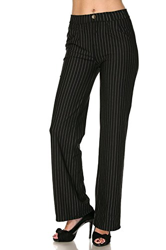 2LUV Women's Stretch Pinstripe Faux Pocket Pull On Dress Pants Black (Striped Pants Slacks)