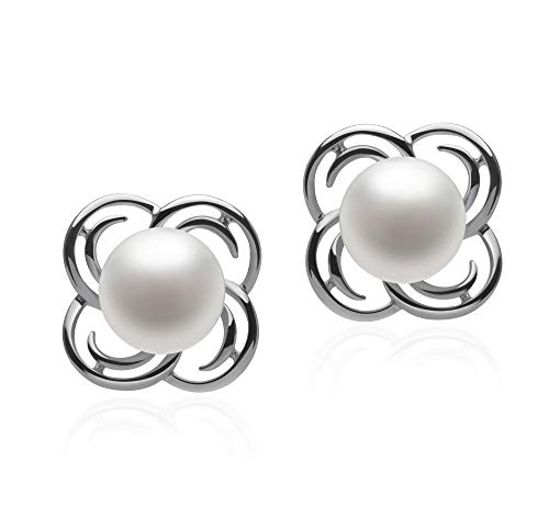 Bella White 7-8mm AA Quality Freshwater 925 Sterling Silver Cultured Pearl Earring Pair For Women ()