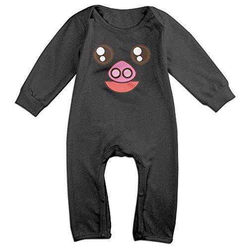 Tongbu Pig Cartoon Face Baby's Bodysuit Climb Clothes Boy & Girl Soft Cotton Long Sleeve Romper Jumpsuit 12 MonthsBlack