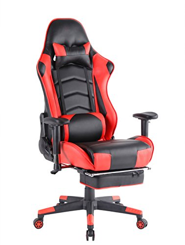 Top Gamer PC Racing Gaming Chair Computer Video Game Chairs with Footrest(Red/Black)
