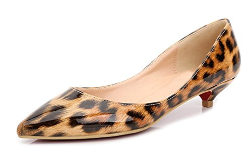 bangfox Women's Low Kitten Mid High Heel Leopard Print Leather Pointed-Toe Slip On Pumps Shoes brown 3 centimeters heels37 M EU / 7 B(M) US - List Indian Model
