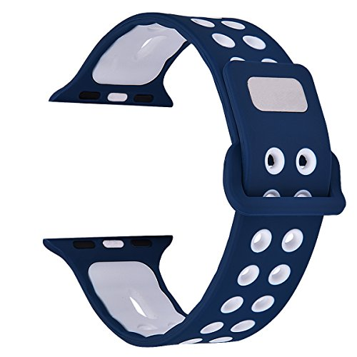 Apple Watch Band - Filoto Silicone Soft Replacement Band for 38mm/42mm Apple Watch Series 1, 2, 3, Sport, Edition, M/L (Blue/White)