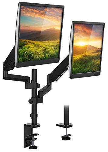 Mount-It! Stackable Dual Monitor Desk Mount | Height Adjustable Vertical Monitor Stand for Computer Screens 19, 20, 21, 24, 27, 29, 30, 32 Inches, Full Motion Gas Spring Dual Monitor Arms
