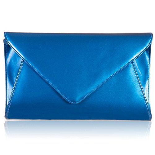 Blue Zarla Women Ladies UK Shimmer Clutch Bridal Evening Bags Envelope Designer Patent Party Flat w8wWTrnOx7