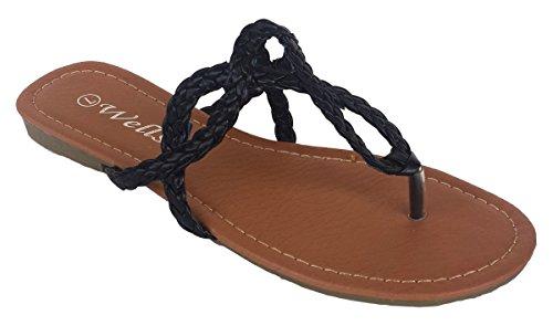 Elegant Women's Fashion Braided Straps Black Color Flip Flop Sandals Black 12, M (Elegant Flip Flops)
