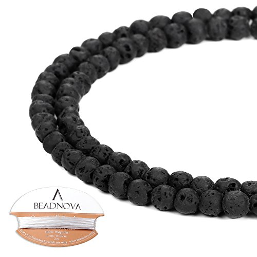 BEADNOVA 4mm Natural Black Lava Rock Stone Gemstone Round Loose Volcanic Beads with Free Crystal Stretch Cord For Jewelry Making (94-96pcs)