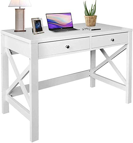 ChooChoo Home Office Desk Writing Computer Table Modern Design White Desk