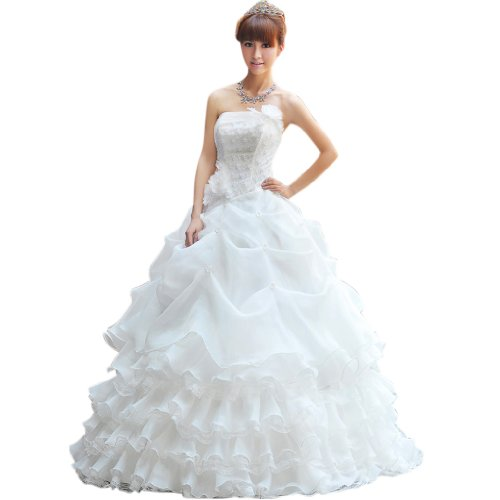 Strapless Floor Women's Dearta Organza Ivory Dresses Wedding Ball Length Gown wqRFPFt