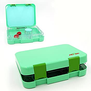 Bento Box 4 Section Tray with Removable, Lunch Box For Kids &Adults, Tritan Safe Food Materials , Easy To Clean, Lunch Storage Container 2 Buckles, Salad Box Of Green