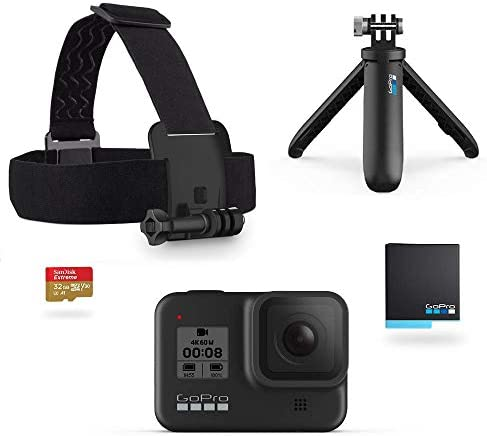 GoPro Hero8 Black Holiday Bundle – Includes Hero8 Black Camera plus Shorty, Head Strap, 32GB SD Card, and 2 Rechargeable Batteries