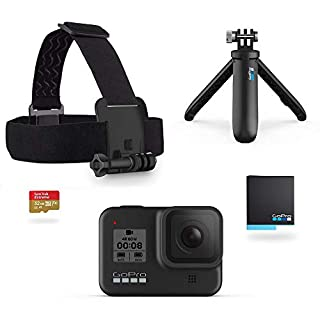 GoPro Hero8 Black Official Holiday Bundle - Includes Hero8 Black Camera Plus Shorty, Head Strap, 32GB SD Card, and 2 Rechargeable Batteries