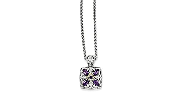 CoutureJewelers Sterling Silver with 14k Amethyst Necklace