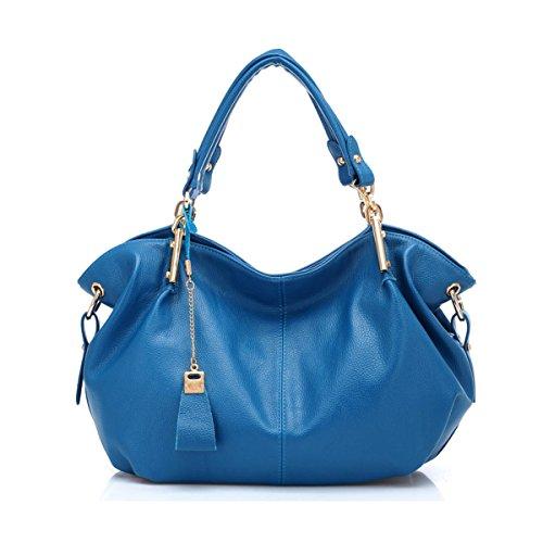 2018 Nuevo Bolso De Cuero Para Mujer De Moda Shoulder Messenger Bolsa De Gran Capacidad (azul Marrón Negro De Color Caqui),Brown-38*14.5*27cm Blue