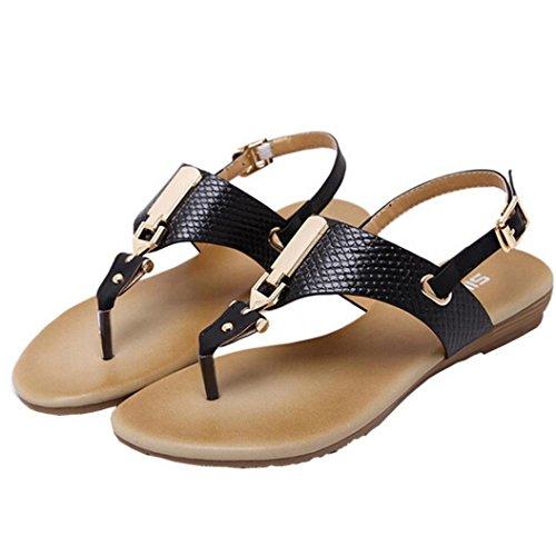 Kaiki Frauen Metall Dekoration Gürtelschnalle Strap Flip Beach Wedge Sandalen Schuhe Black