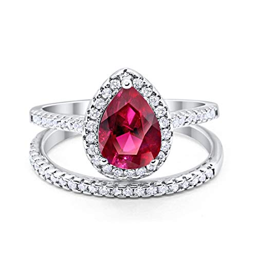Blue Apple Co. Teardrop Pear Bridal Set Wedding Engagement Ring Band 925 Sterling Silver Round Simulated Ruby Cubic Zirconia - Simulated Sterling Mens Ruby Silver