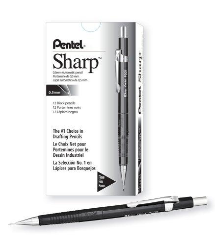 Pentel Sharp Automatic Pencil, 0.5mm Lead Size, Black Barrel(P205A) (E-sharp 0.5 Mm Pencil)