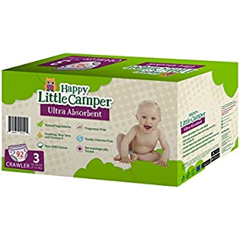 Happy Little Camper Ultra Absorbent Premium Natural Diapers, Size 3, 92 Count