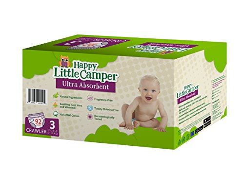 Price comparison product image Happy Little Camper Ultra Absorbent Premium Natural Diapers, Size 3, 92 Count