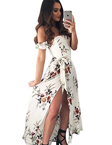 Womens Summer Maxi Beach Wedding Dress Off Shoulder Ruffles Floral Casual Flowy Split Sundresses