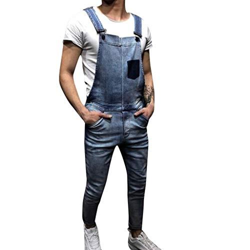 Bsjmlxg Mens Suspender Pants, Male Denim Bib Overalls Fashion Jumpsuit Jeans Slim Jumpsuit with Pockets Trousers