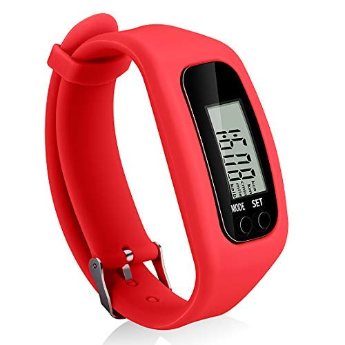 Bomxy Fitness Tracker Watch, Simply Operation Walking Running Pedometer with Calorie Burning and Steps Counting (red)