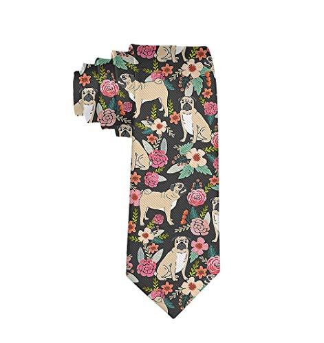 Men Date Gift Suit Necktie, PUG Flower Skinny Tie for Wedding, Formal Party, - Pug Tie
