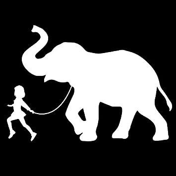 GIRL WALKING A ELEPHANT Vinyl Decal Sticker Car Window Wall Bumper Funny Pet