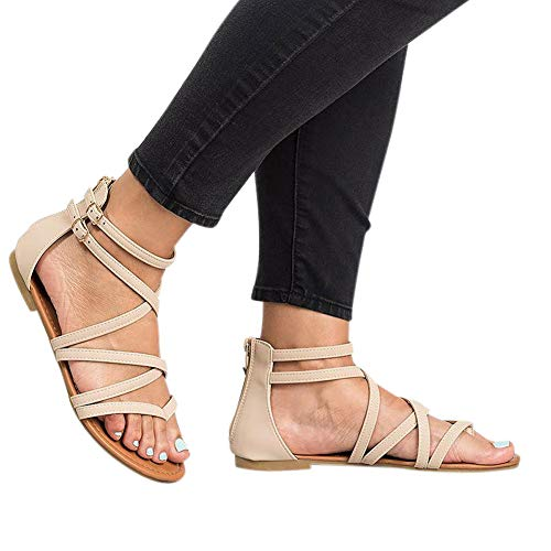 Women Strappy Sandals Thong Cross Gladiator Flats with Double Buckle Strap