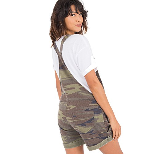 Z SUPPLY Womens The Camo Short Overalls Burnout Relaxed