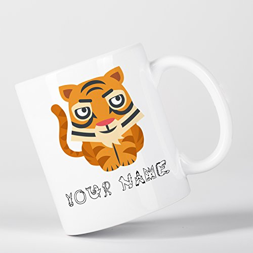 Personalised Tiger Cute Animal Zoo Children Customizable Mug (Personalised Tiger)