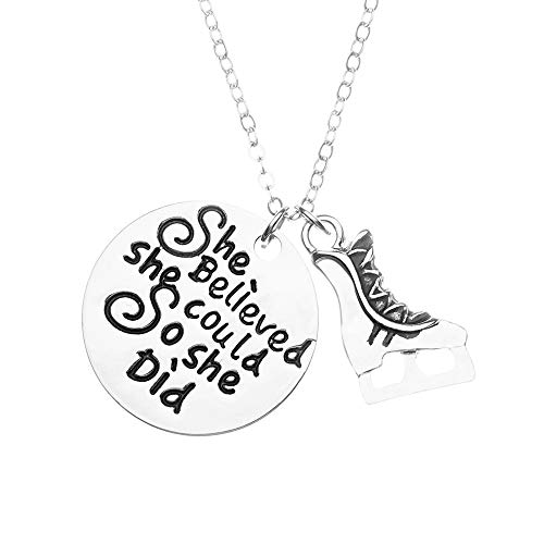 Sportybella Figure Skating Necklace, She Believed She Could So She Did Pendent for Figure Skaters