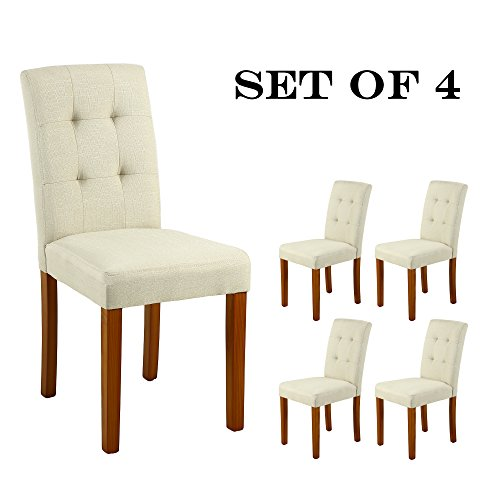 (LSSBOUGHT Upholstered Dining Chair Parson Dining Chair with Solid Wood Legs, Set of 4, Beige)