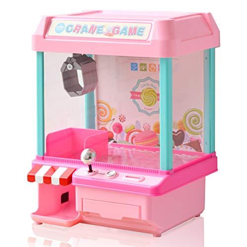 RiZKiZ クレーンゲーム 2WAY電源 [電池/microUSB電源] 【ピンク】 コイン付き あのゲームが自宅で楽しめる!パーティーやお楽しみ会にもオススメ