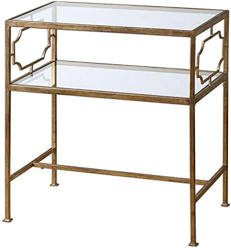 Uttermost Genell Gold Leafed Iron Glass Side Table