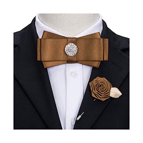 Ribbon Tie Men Brooch Pin Pre-Tied Bow Tie Luxury Crystal Brown Necktie Wedding ()