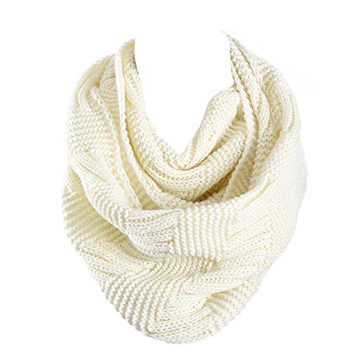 Marte&Joven Thick Warm Women Infinity Scarf White Fashion Knit Winter Circle Loop Scarves