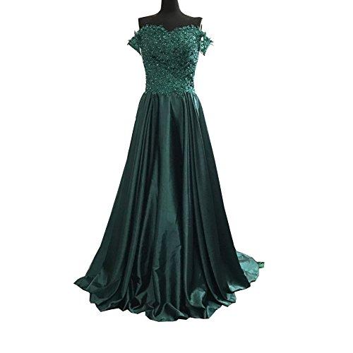 Diousha Sweetheart Bateau Short Sleeves Floor Length Applique Beaded Blackish Green Bridesmaid Dresses Charmeuse Prom Dresses ()