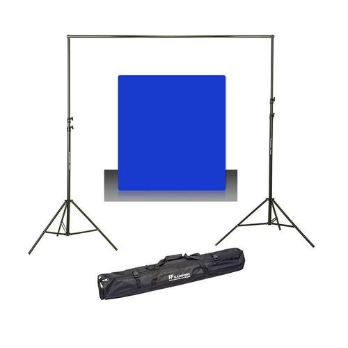 (Westcott Photo Basics 9' x 10' Blue Screen Cotton Background - Bundle with Flashpoint 10' Background Support System)