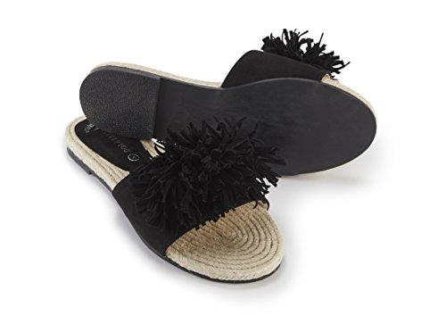 negra de de detalle borla con borla y detalle sandalia Bonita q8nX1awFR